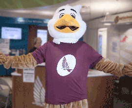 Eagle mascot with maroon t shirt