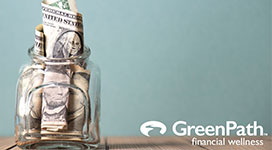 Still image of a money jar with the GreenPath logo