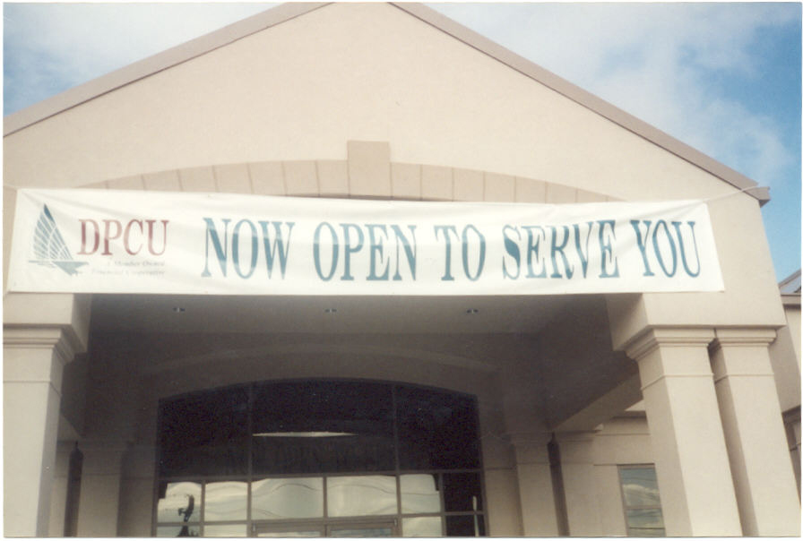 Building entrance with banner outside